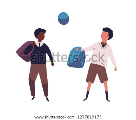 Pair of boys dressed in school uniform playing football. Students, pupils, classmates or schoolfellows kicking ball. Sports activity for kids. Colored vector illustration in modern flat style.