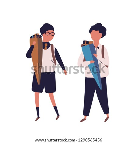Pair of boys dressed in uniform walking to school and carrying Schultute gifts or cones with candies. Schoolboys, children, pupils or students isolated on white background. Flat vector illustration.