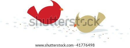 pair of cardinals in snow - stock vector