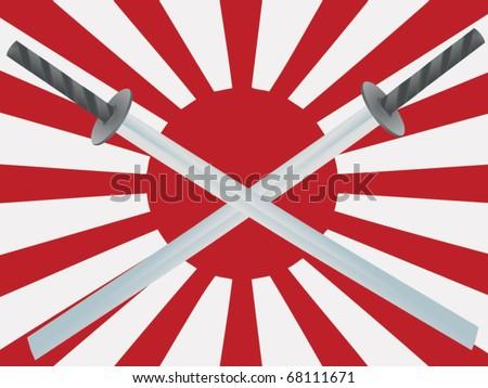 pair of crossed wakizashi swords against Japanese battle flag