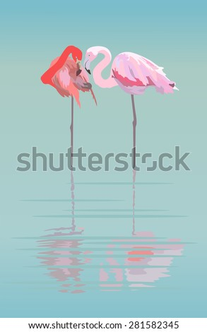 Stock Photo Pair of flamingos in the pond