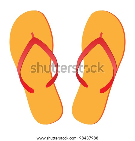 Pair of flip-flops isolated on a white background. Vector illustration.