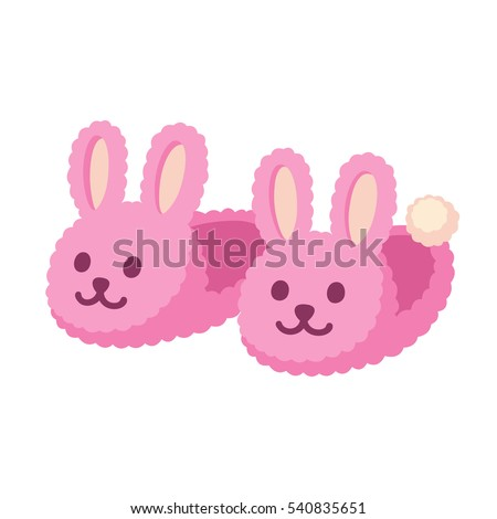 Pair of fuzzy bunny home slippers. Cute pink rabbit shoes cartoon vector illustration.