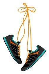 Pair of Hanging Sneakers - Vector