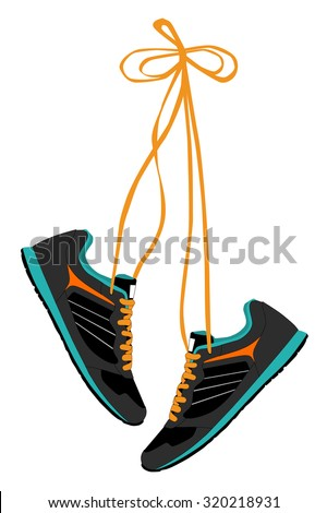 Pair of Hanging Sneakers - Vector