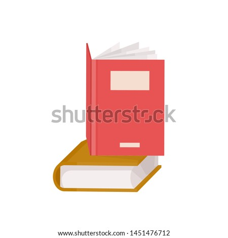 Pair of hardcover books. Stack of textbooks for education and academic studies, fiction literature. Decorative design elements isolated on white background. Flat cartoon colorful vector illustration.