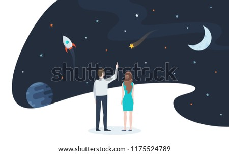 Pair of man and woman looking at stars, planets and other celestial objects. Concept of space and universe exploration, astronomical research, interstellar travel. Flat modern vector illustration.