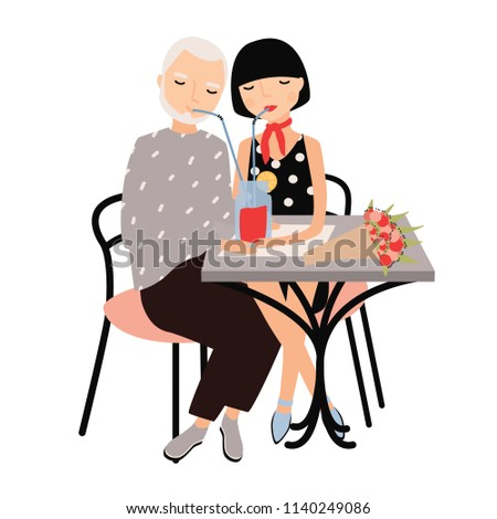 stock-vector-pair-of-man-and-woman-sitting-at-table-and-drinking-cocktail-with-straws-together-couple-on