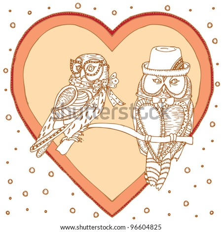 pair of owls on love background