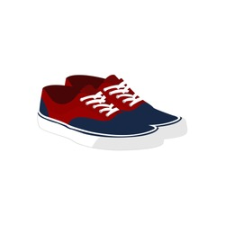 Pair of Red Blue Casual Sneaker Shoes Fashion Style Item Illustration