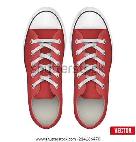 pair of red simple sneakers