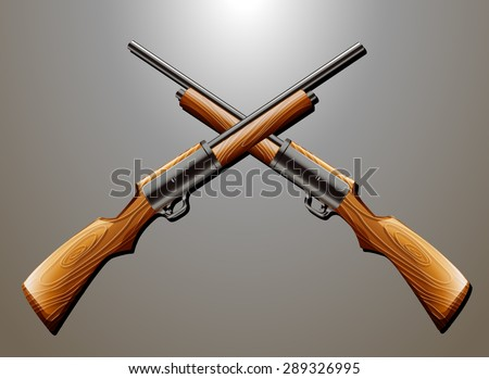 pair of rifle guns hanging on