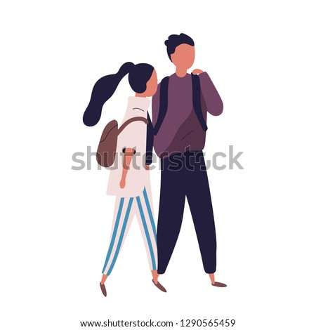 Pair of school teenage boy and girl. Funny students, pupils, classmates or friends walking together and having conversation, talking or chatting. Colorful vector illustration in modern flat style.