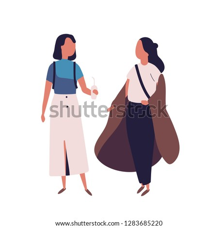 Pair of school teenage girls. Female students, pupils, classmates or friends standing together and having conversation, talking or chatting. Colorful vector illustration in modern flat style.