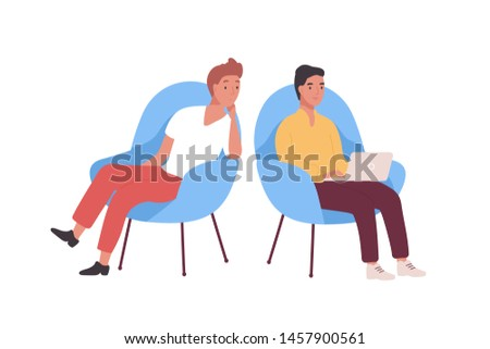 Pair of smiling employees, businessmen or office workers sitting in armchairs and working on laptop computer. Business meeting of two colleagues or clerks. Flat cartoon colorful vector illustration.