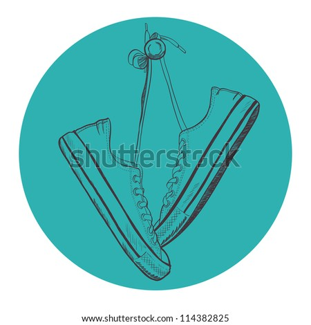 Pair of sneakers drawn in a sketch style. Sneakers hanging on a peg. Vector illustration.