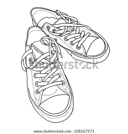 Pair of sneakers on the white background drawn in a sketch style. Vector illustration.