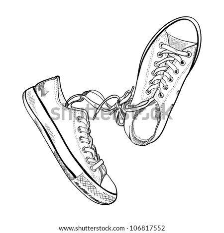Pair of sneakers on white background drawn in a sketch style. One gumshoe lying on the side. Vector illustration.