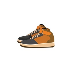 Pair of sneakers, Side view of modern and trendy sports footwear, vector illustration