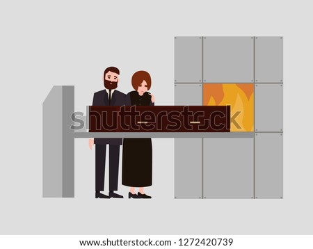 Pair of sorrowful man and woman dressed in black mourning clothes standing near coffin in crematory and crying. Cremation ceremony, funeral ritual. Colorful vector illustration in flat cartoon style.