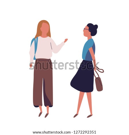 Pair of teenage girls isolated on white background. Female students, pupils or classmates talking to each other. Meeting of two friends or teenagers. Colored vector illustration in modern flat style.
