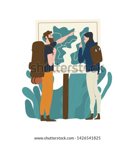 Pair of tourists standing in front of map and checking their route. Young man and woman hiking or backpacking in nature. Male and female hikers in adventure travel. Flat cartoon vector illustration.
