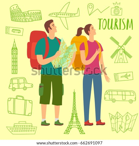 Pair of tourists with backpacks and map. It includes doodle drawings: airplane, ship, suitcase, monuments. Travel illustration for your design.
