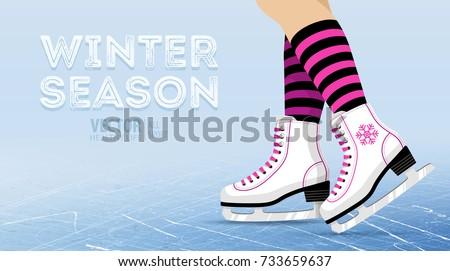 pair of white ice skates
