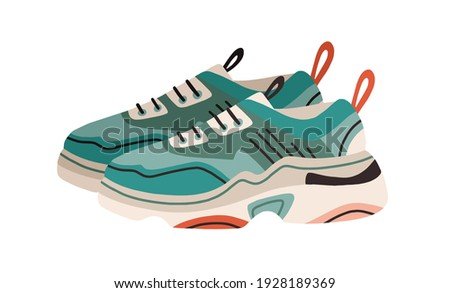 Pair of women's fashion ugly sneakers with big clunky sole. Side view of modern and trendy sports footwear. Colored flat vector illustration of stylish footgear isolated on white background Сток-фото ©