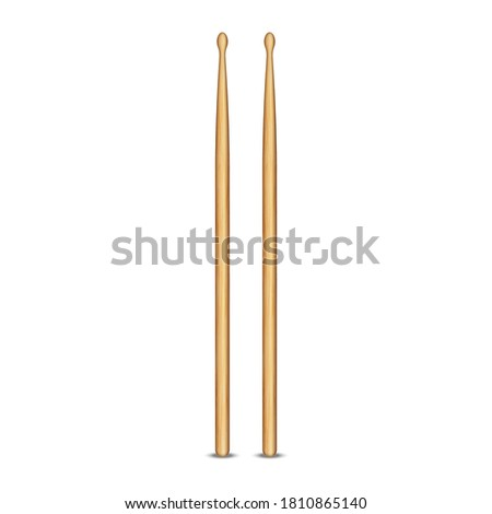 pair of wooden drum sticks 3d