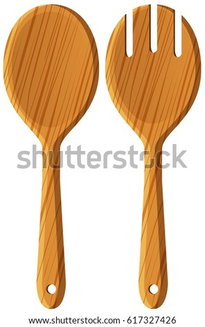 Pair of wooden spoon and fork illustration