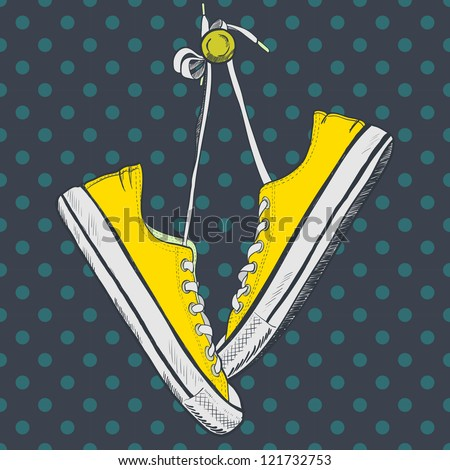 Pair of yellow sneakers on the polka dot background drawn in a sketch style. Sneakers hanging on a peg. Vector illustration.