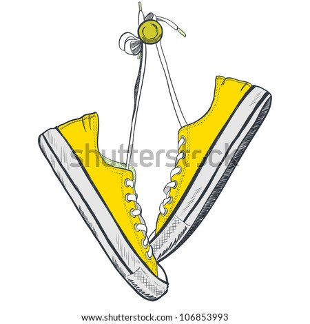 Pair of yellow sneakers on the white background drawn in a sketch style. Sneakers hanging on a peg. Vector illustration.