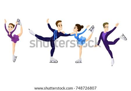 Pair skating figure skating boy and girl, cartoon skate man and woman, boy and girl in Ice skates. Male and woman skating. Couple boy and girl pair figure skating. boy and girl in pair. vector cartoon