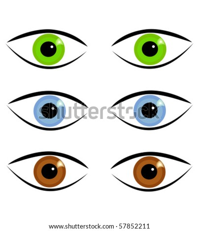 stock vector : Pairs of eyes in three different colors
