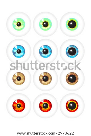 stock vector : Pairs of eyes with different colors and pupil sizes.
