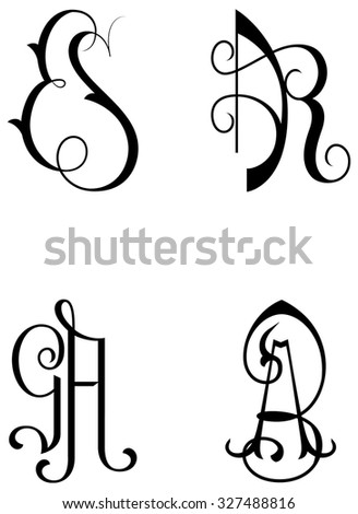 PAIRS OF INITIAL TO CUSTOMIZE CLOTHES, TOWELS AND BEDCLOTHES. THE PAIRS ARE: ES - AR - GA - AB Photo stock ©