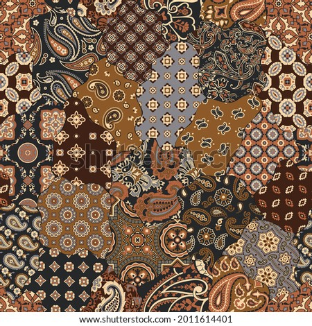 Paisley and geometric motifs fabric patchwork abstract vector seamless pattern