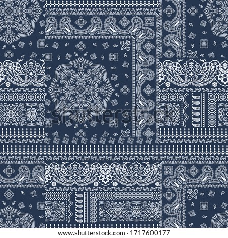 Paisley bandana fabric patchwork abstract vector seamless pattern