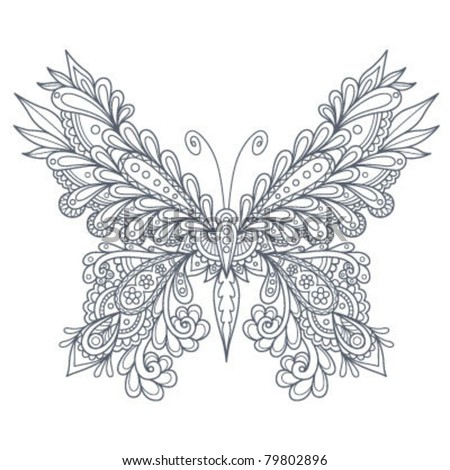 Paisley Butterfly Outline Stock Vector 79802896 : Shutterstock
