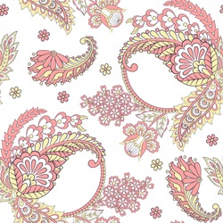 Paisley Floral oriental ethnic Pattern. Vector Seamless Ornamental Indian fabric patterns.
