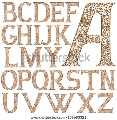 paisley henna alphabet full
