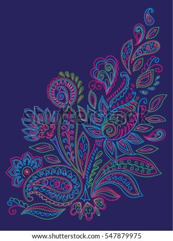 Paisley Mehendi Henna Colored Floral Pattern Tattoo Design