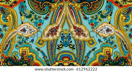 stock-vector-paisley-pattern-ethnic-oriental-geometric-ornament-vector-vibrant-colors-on-minty-green