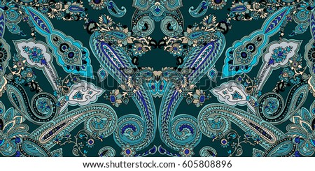stock-vector-paisley-pattern-frame-ethnic-oriental-ornament-teal-colors-on-emerald-green-background-textile