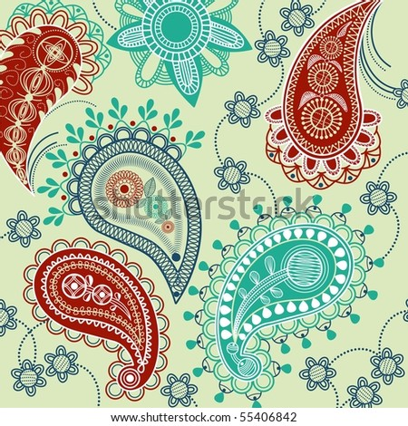 Paisley pattern with flowers - stock vector