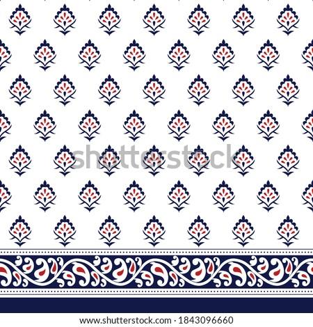 paisley seamless border pattern on white  Stock photo ©