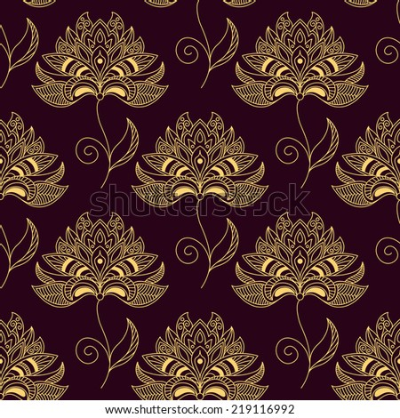Paisley seamless floral yellow pattern on dark purple colored background for wallpaper and textile design