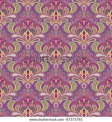 Paisley seamless pattern in editable vector file