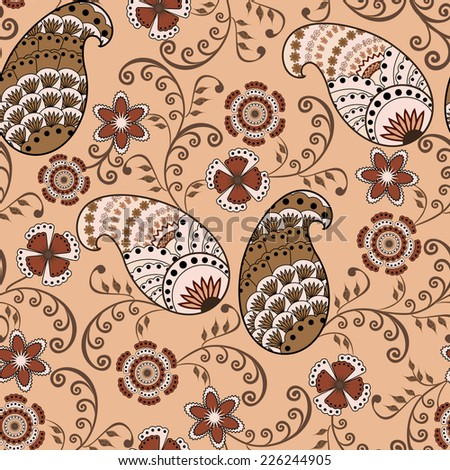 Paisley with polka dots decorated with swirls and fancy flowers in pink brown scale